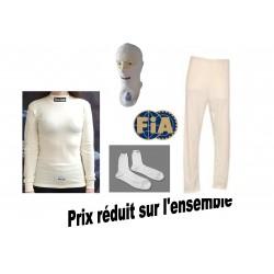 Kit complet sous vêtements ignifugés blanc homologué FIA