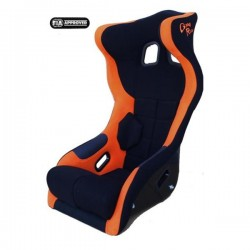 siège bacquet à oreilles FIA noir/orange