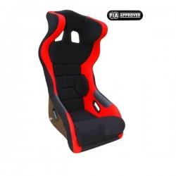 siège bacquet à oreilles FIA noir/rouge