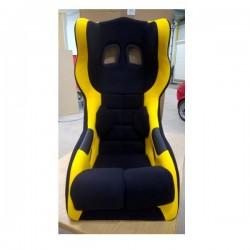 siège bacquet à oreilles FIA noir/jaune