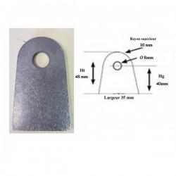 Support plat à souder 35mm trou 8