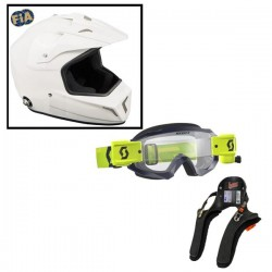 Pack Casque Cross + lunette Hustle + hans