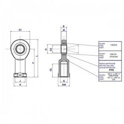 Rotule femelle étroite M16x200