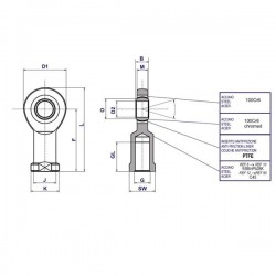 Rotule femelle étroite M24x200