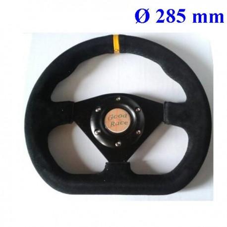 volant Type formule 285 mm 3 branches plat noir