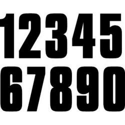 Numéro noir de 0 à 9 adhésif - 12 cm