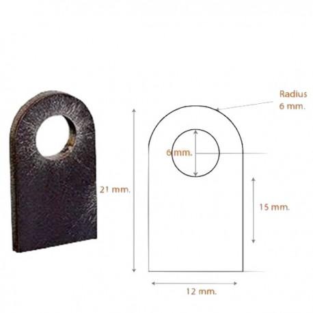 Support plat à souder 12mm trou 6