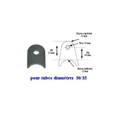 Pack 20 supports à souder pour tube 30/35mm Hg20