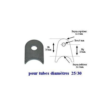Support à souder pour tube 25/30 mm