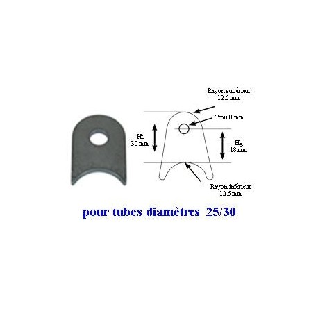 Pack 20 supports à souder pour tube 25/30 mm