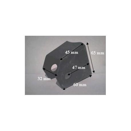Chape fixation triangle pour tube vertical